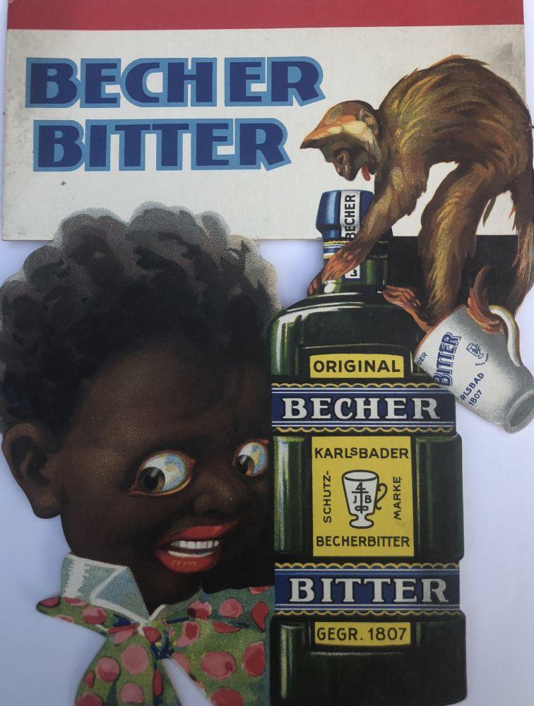 Originální kartonová cedule Becher Bitter