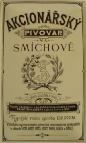 Originální plechová cedule Akcionářský pivovar na Smíchově