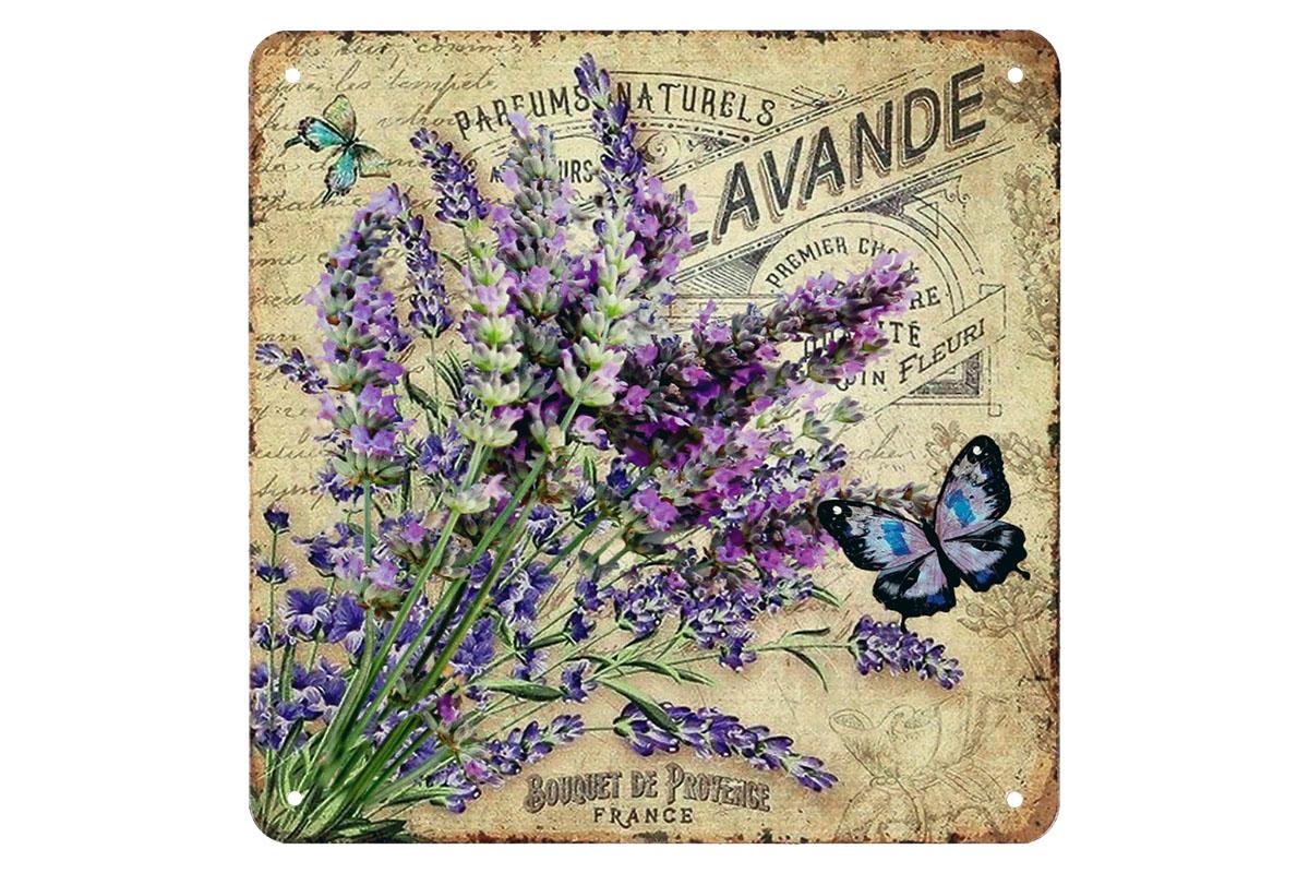 Plechová cedule Levandule - Lavande Motýl