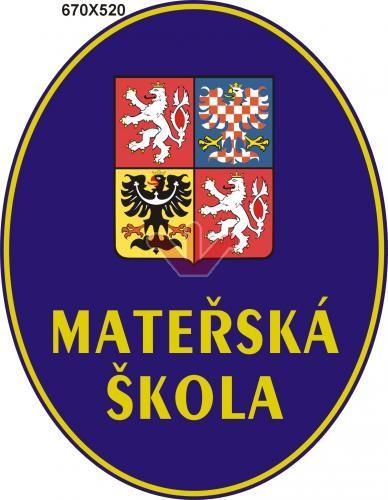 Smaltovaná cedule Mateřská škola se státním znakem - ovál M bílá