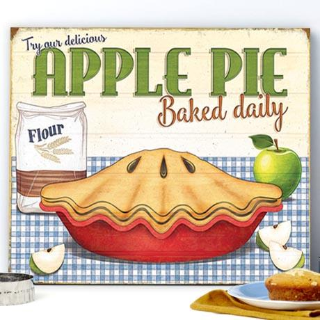 Plechová cedule Apple pie Baked daily
