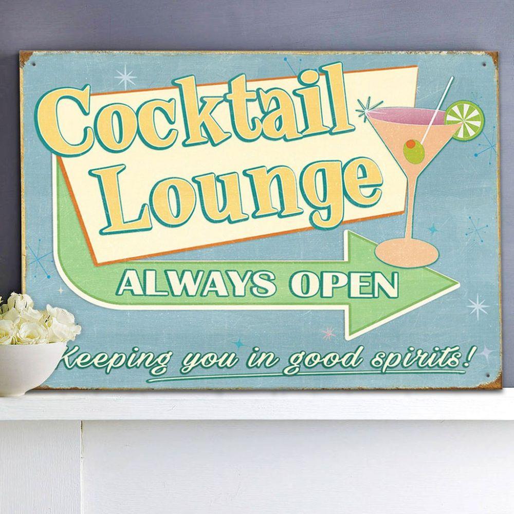 Plechová cedule Cocktail lounge always open