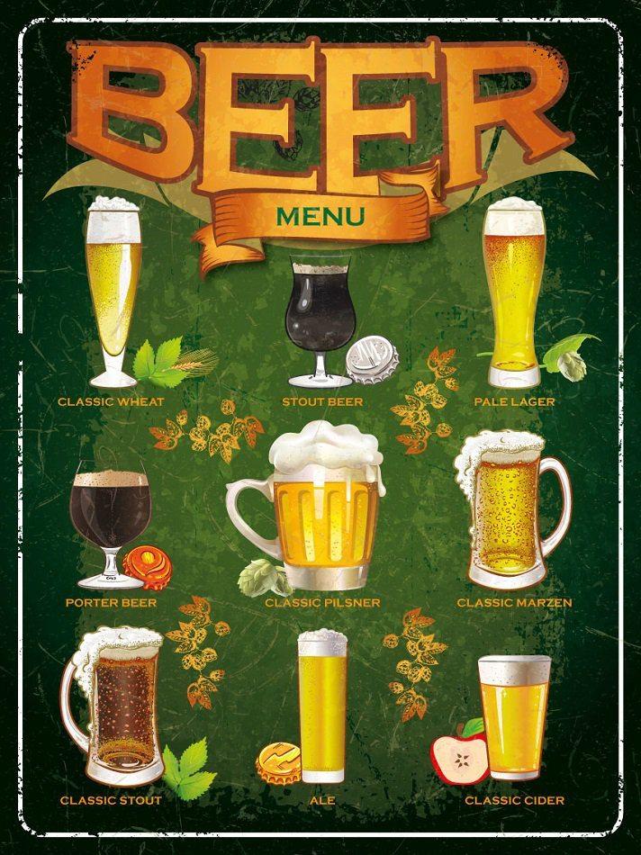Plechová cedule Pivo Beer menu