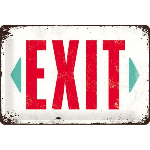 Plechová cedule Exit bílá