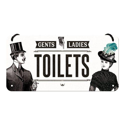 Plechová cedulka na dveře závěsná WC Gents and Ladies Toilets