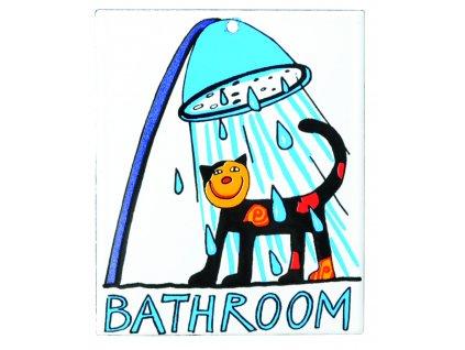 Smaltovaná cedulka na dveře Bathroom - Koupelna Kočka ve sprše