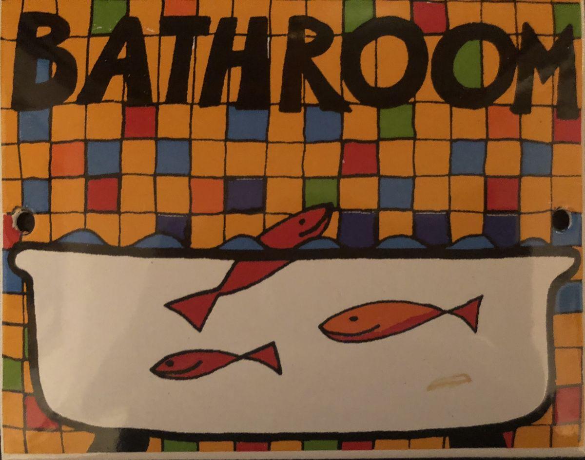 Smaltovaná cedulka na dveře Bathroom - Koupelna s rybičkami