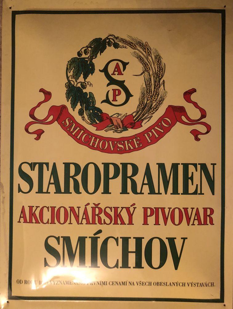 Originální plechová cedule Staropramen Akcionářský pivovar Smíchov