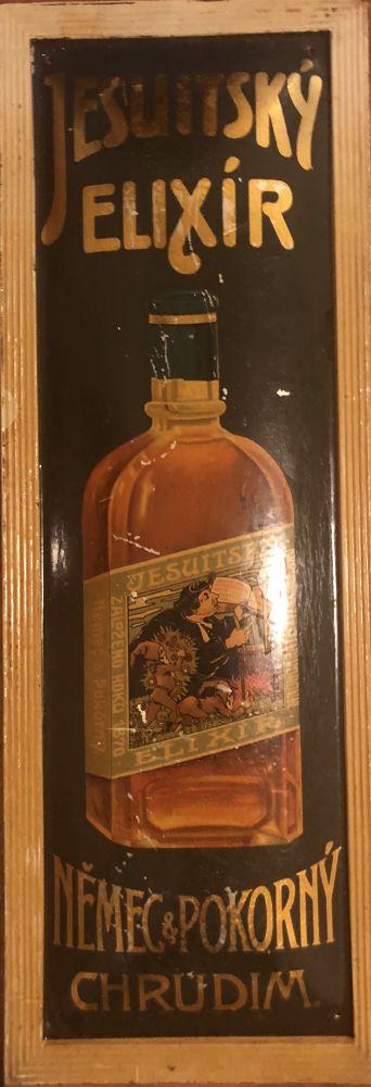 Originální starožitná plechová cedule Jesuitský elixír