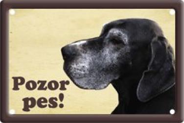 Plechová cedulka Německá doga Pozor pes