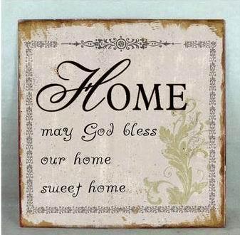 Plechová vintage cedule Home -my god bless