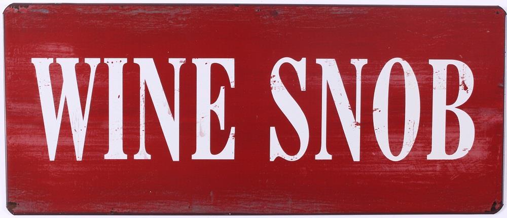 Plechová vintage cedule Wine snob - víno