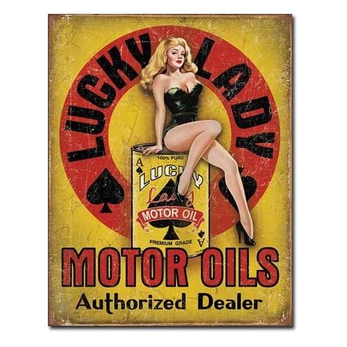 Plechová cedule Lucky lady motor oils