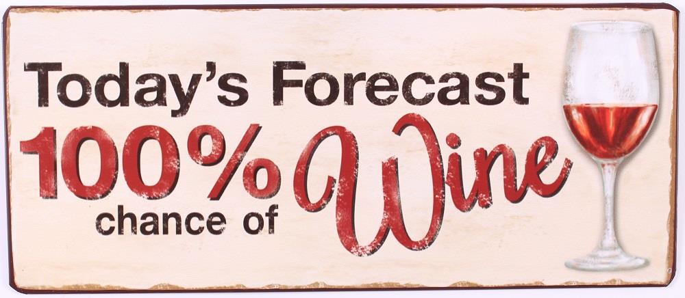 Plechová cedule 100% chance of wine - víno
