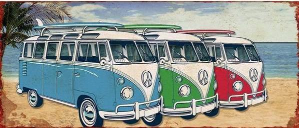 Plechová cedule VW Bulli Samba bus color