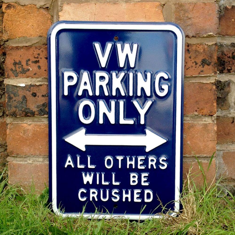 Plechová cedule VW parking only - modrá