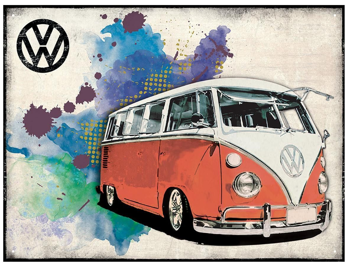Plechová cedule VW Bulli Samba surf červený