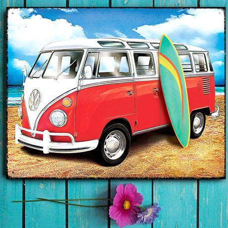 Plechová cedule VW Bulli Samba se surfem
