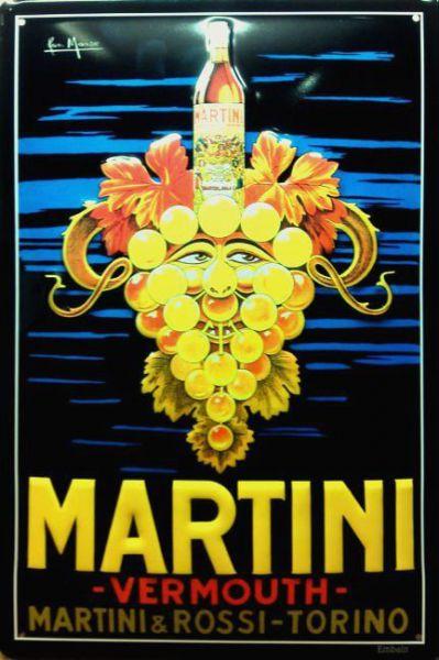 Plechová cedule Martini Vermouth hrozen simply