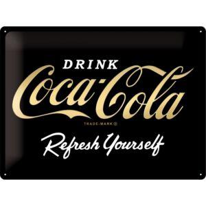Plechová cedule Coca cola Drink - Refresh yourself black