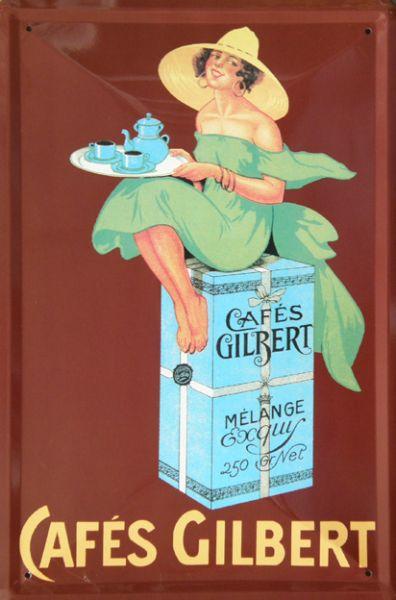 Plechové hodiny Cafés Gilbert