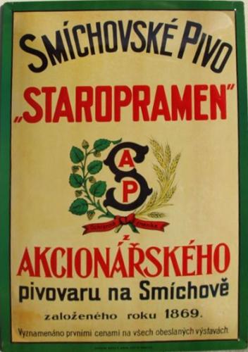 Originální kartonová cedule Smíchovské pivo Staropramen