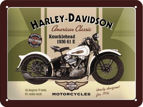 Plechová cedule motorka Harley Davidson Knucklehead pohlednice