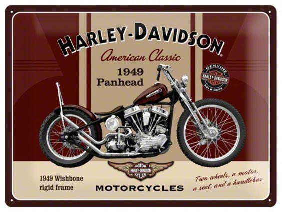 Plechová cedule motorka Harley Davidson American Classic pohlednice
