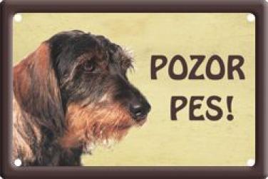 Plechová cedulka Jezevčík drsnosrstý Pozor pes