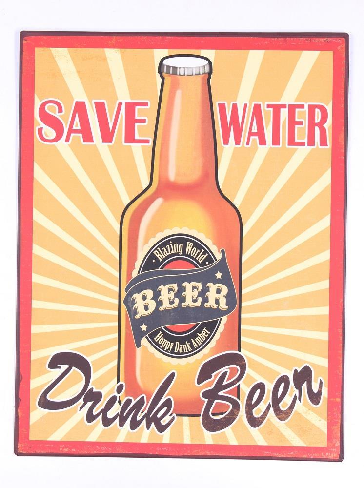 Plechová cedule pivo Save water drink beer orange drobné poškození