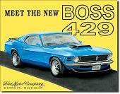 Plechová cedule auto Ford Mustang Boss 429 poškozeno