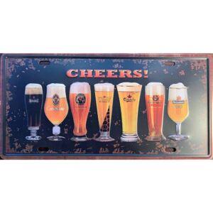 Plechová retro cedule Pivo Sklenice Cheers