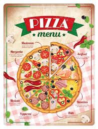 Plechová cedule Pizza menu