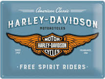 Plechová cedule moto Harley Davidson Free spirit riders