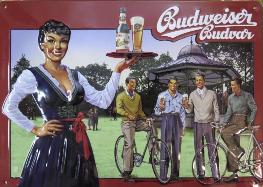 Plechová cedule Budweiser Budvar Kolo