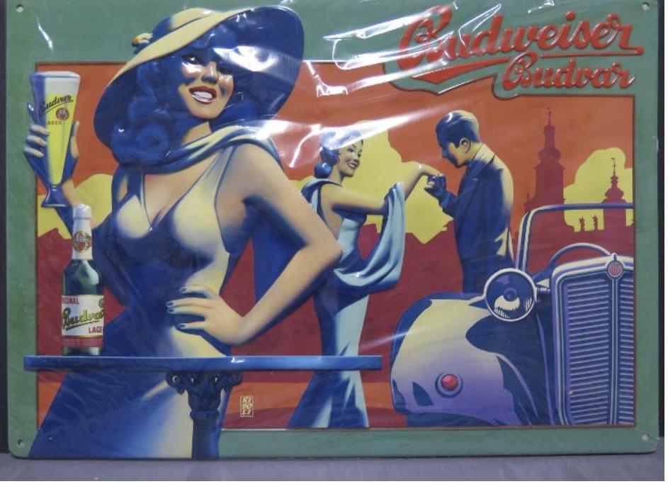 Plechová cedule Budweiser Budvar Auto žena s kloboukem