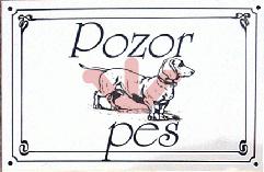 Plechová výstražná cedulka Pozor pes