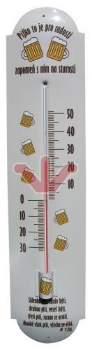 Plechový teploměr Pivo
