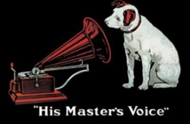 Plechová cedulka His master voice