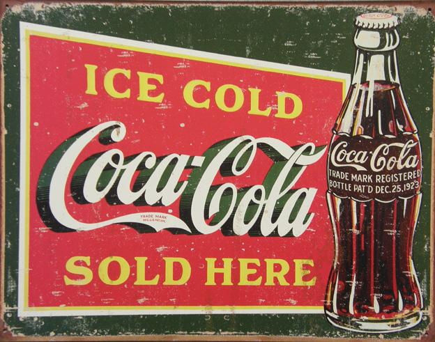 Plechová cedule Coca cola sold here 1