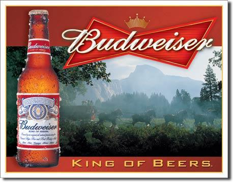 Plechová cedule pivo Budweiser - King of beers