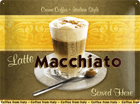 Plechová cedule káva - Latte Macchiato