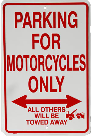 Plechová cedule Parking for motorcycles only