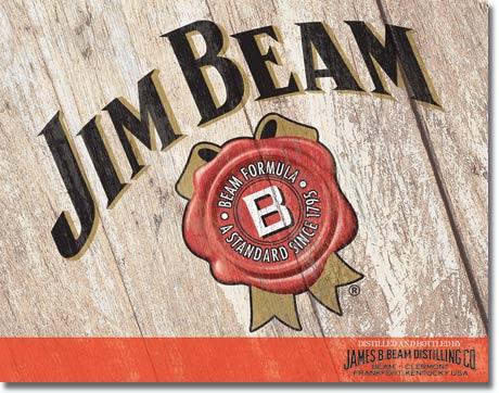 Plechová cedule Jim Beam woodcut