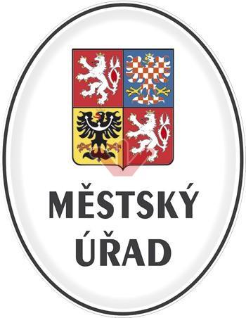 Smaltovaná cedule Městský úřad se státním znakem
