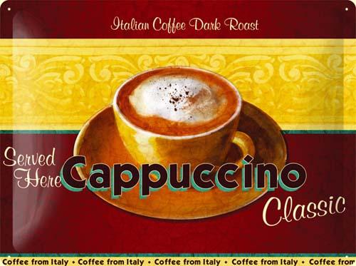 Plechová cedule káva Cappuccino