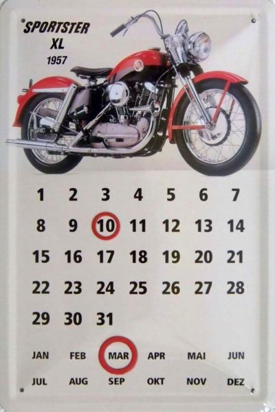 Plechová cedule kalendář Motorka Sportster XL 1957