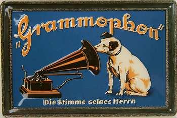 Plechová cedule His master´s voice - Grammophon střední