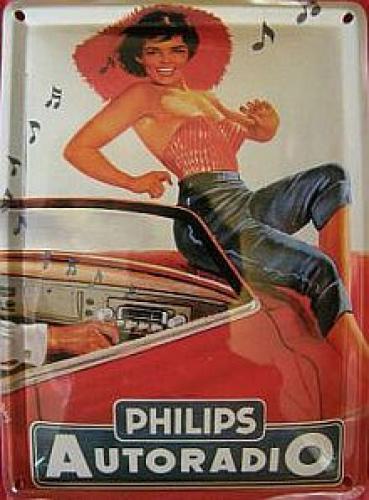 Plechová retro cedulka Philips autoradio,