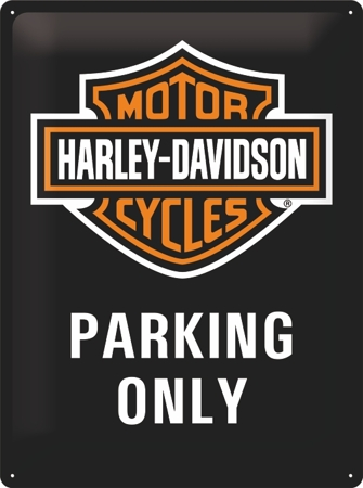 Plechová cedule moto Harley - Parking only